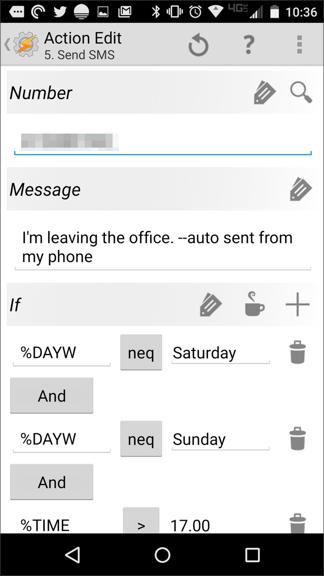 Tasker send sms